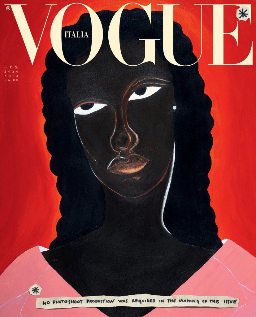 Illustration by Delphine Desane featuring model Assa Baradji wearing an oversized organza jacket by Gucci.