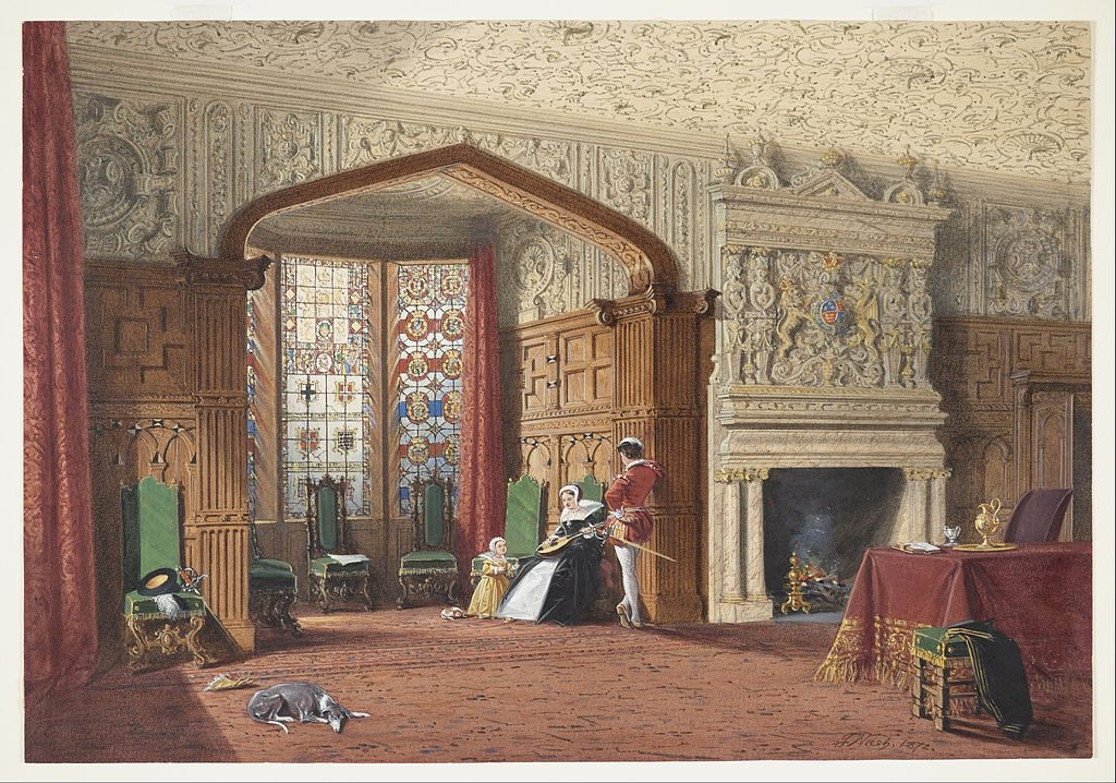 An Elizabethan Room at Lyme Hall, Cheshire by Joseph Nash, 1872 - royal design