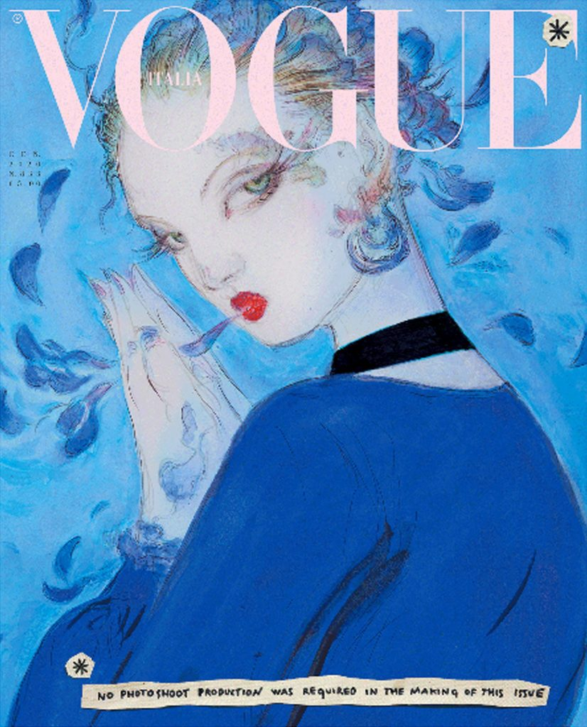 cover Illustration by Yoshitaka Amano featuring model Lindsey Wixson wearing a silk and leather choker dress by Gucci.