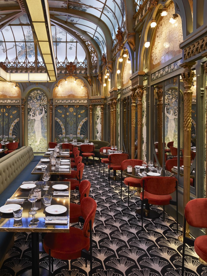 Beautiful Restaurants - luxurious art nouveau dining room at the Beefbar Paris