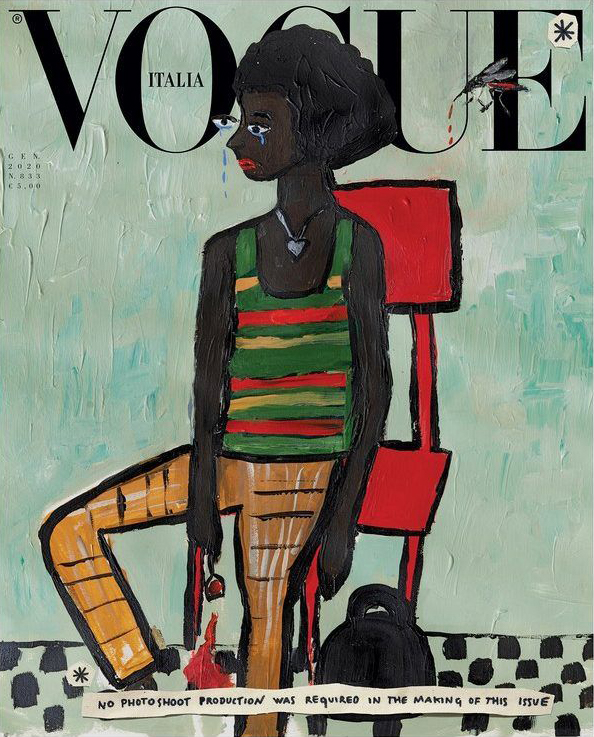 vogue italia Illustration by Cassi Namoda featuring model Ambar Cristal Zarzuela wearing a striped cotton sweater and Gucci houndstooth wool trousers.