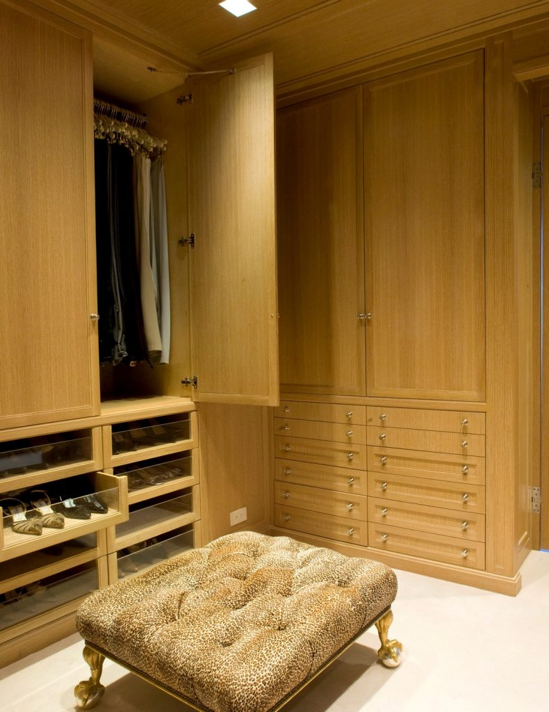 wood dream closet with leopard ottoma