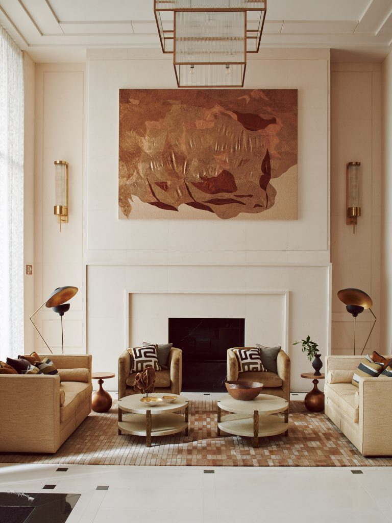 earth toned living room design - Chelsea Barracks interior designed by Elicyon (Photo by Michael Sinclair)