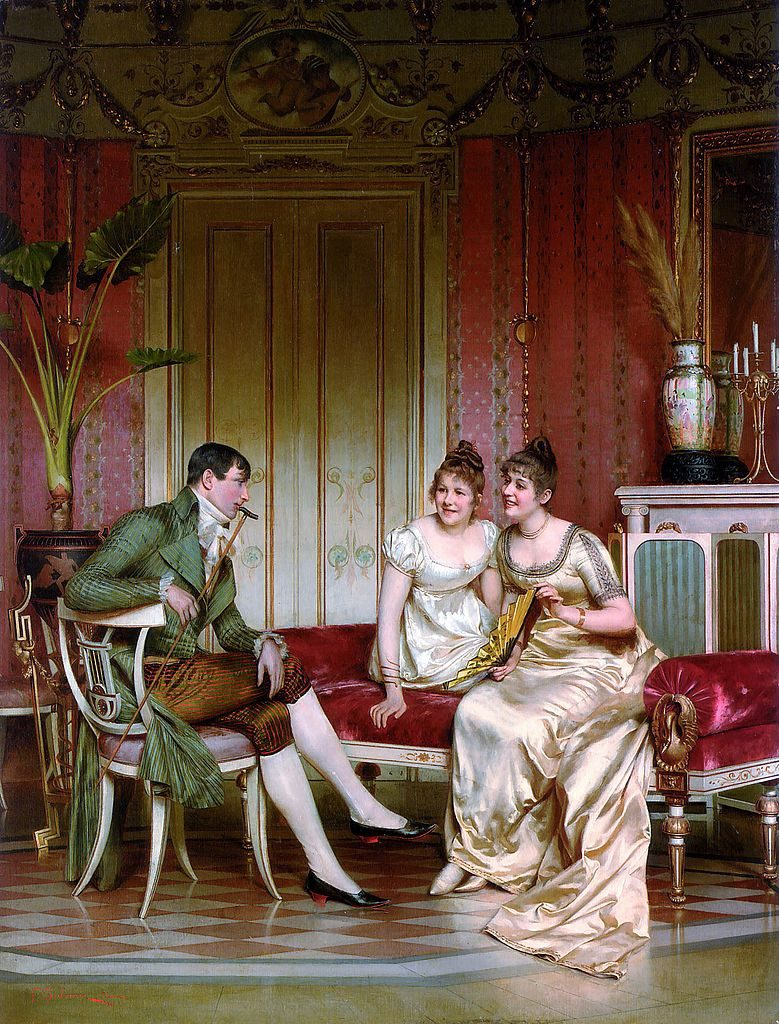 The Afternoon Visitor by Frédéric Soulacroix depicts a Regency-era sitting room. (Source: ArtRenewel / Wikimedia)