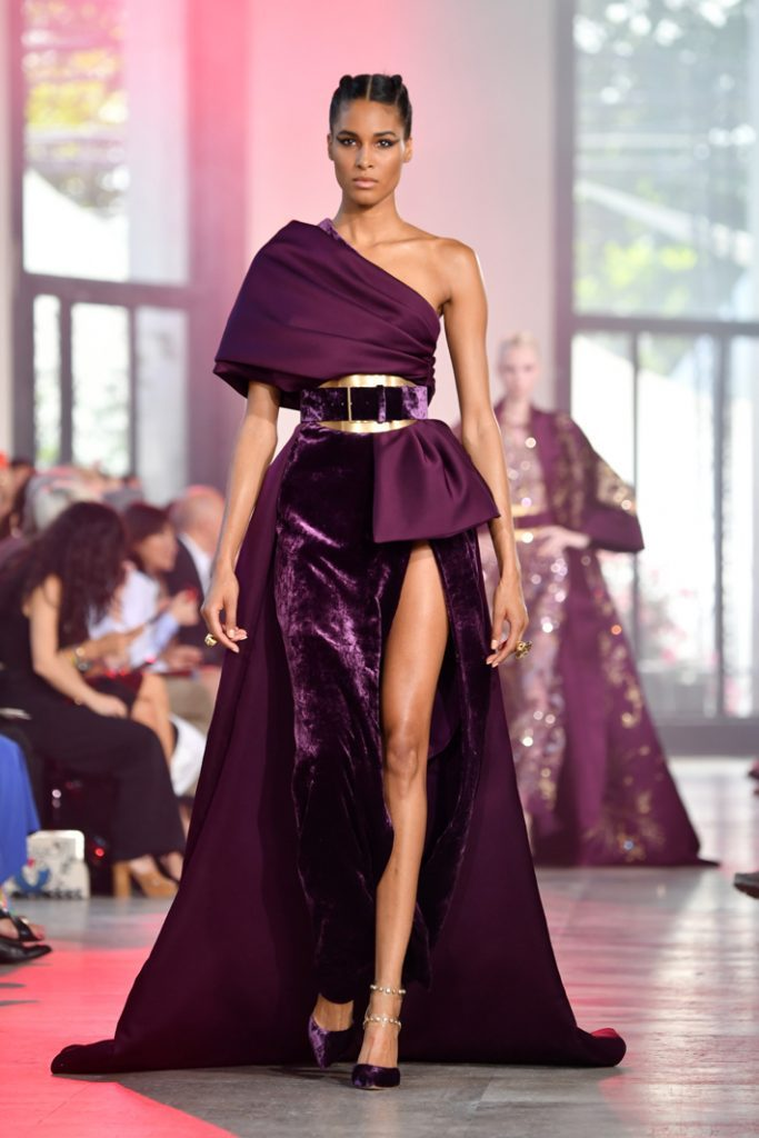 Cindy Bruna walks the runway during the Elie Saab Haute Couture Fall/Winter 2019 2020