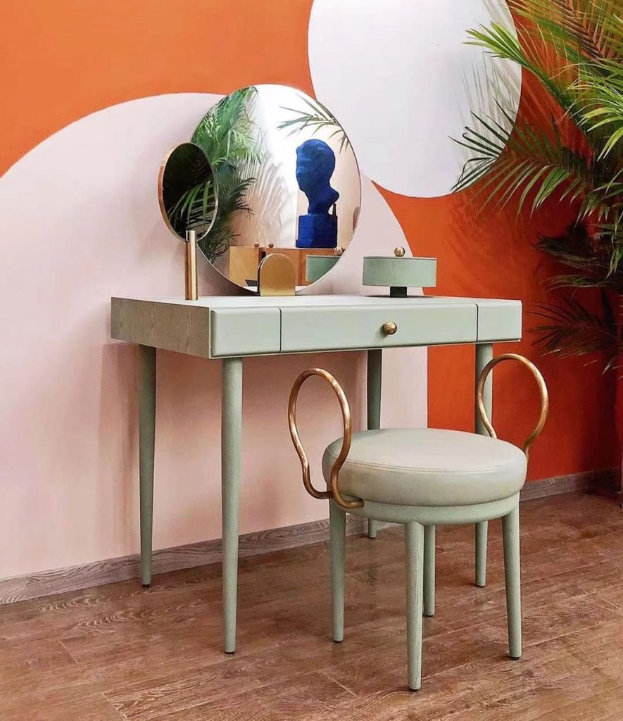 maison dada vanity table and chair in pale green