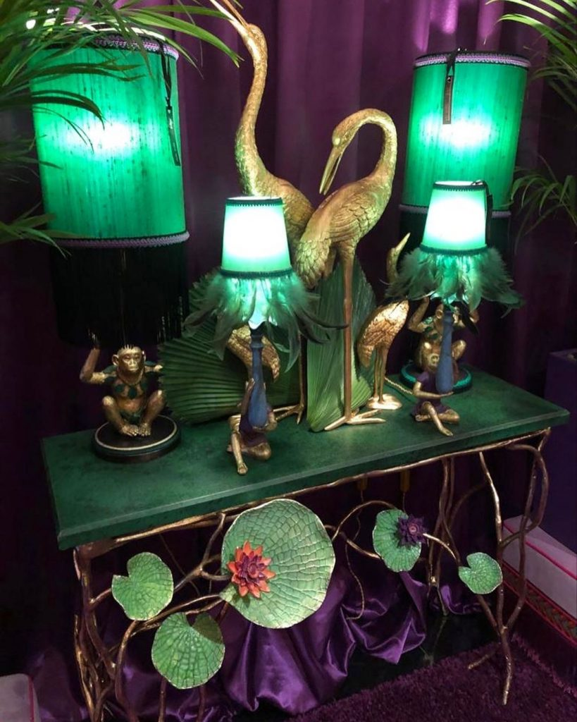bird statues and monkey lights by marie martin