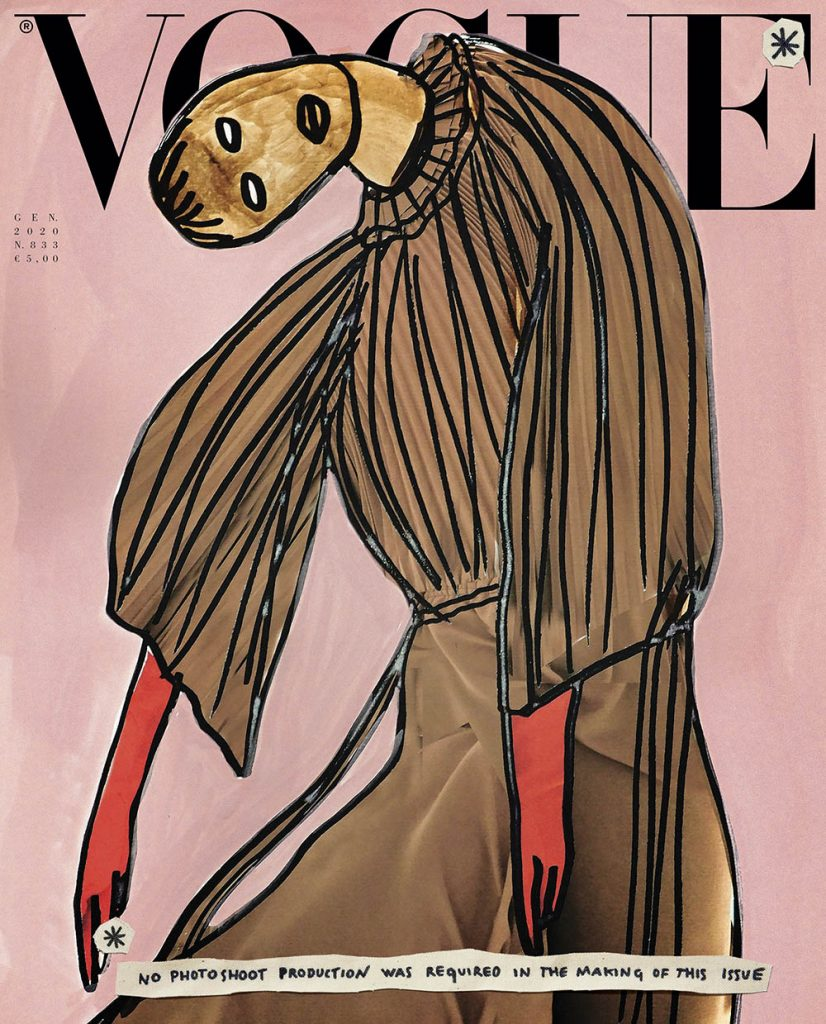 vogue italia promotes sustainable fashion with january 2020 cover Illustration by Vanessa Beecroft featuring a pleated organza dress by Gucci.
