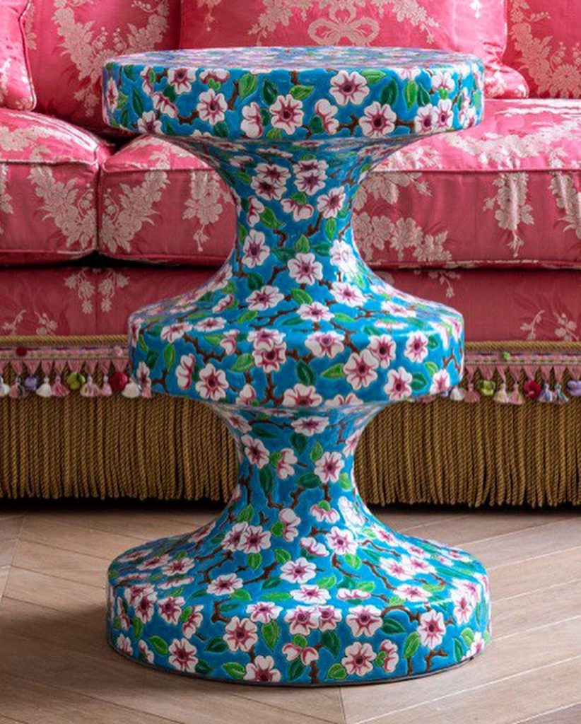 BISHOP HAUTE COUTURE accent table by India Mahdavi dressed in a historical apple flower pattern by @emaux_de_longwy. Launched during Paris Deco Off 2020 at EMBLEM Paris