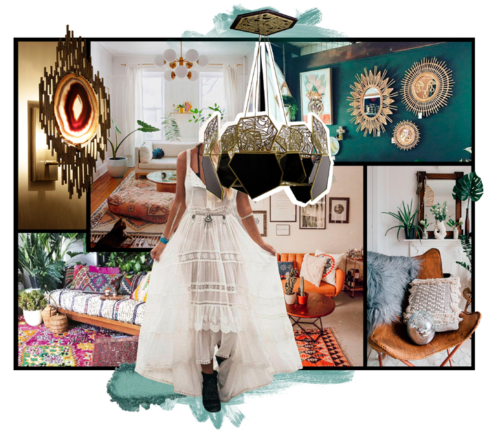 home scent to match koket boho style bohemian vibes interior design moodboard