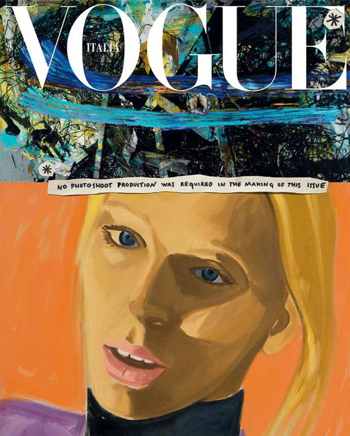 vogue italia promotes sustainable fashion with january 2020 cover Illustration by David Salle featuring model Lili Sumner wearing a silk dress with a contrasting collar in black leather by Gucci, styling by Tonne Goodman.