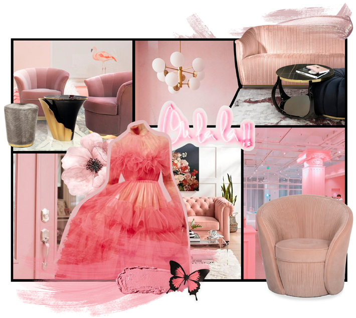 pink tone mood board by koket - interior design inspiration 2020