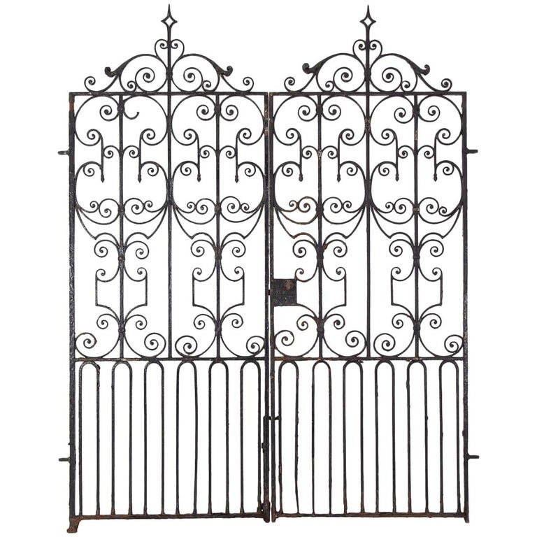 c1820 wrought iron gate are common elements of the Regency style. (Source: 1stDibs)