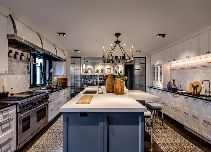 luxury kitchen design blue island with white cabinets