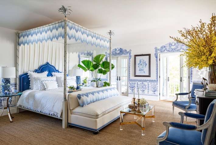 blue and white bedroom by Alesssandra Branca Sargent Architectural Photography kips bar palm beach 2020