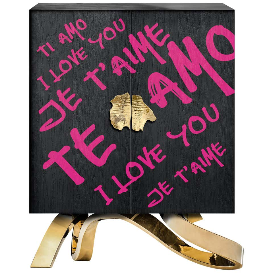 Contemporary I LOVE YOU cabinet by Railis Design. Black, Gold, Pink.