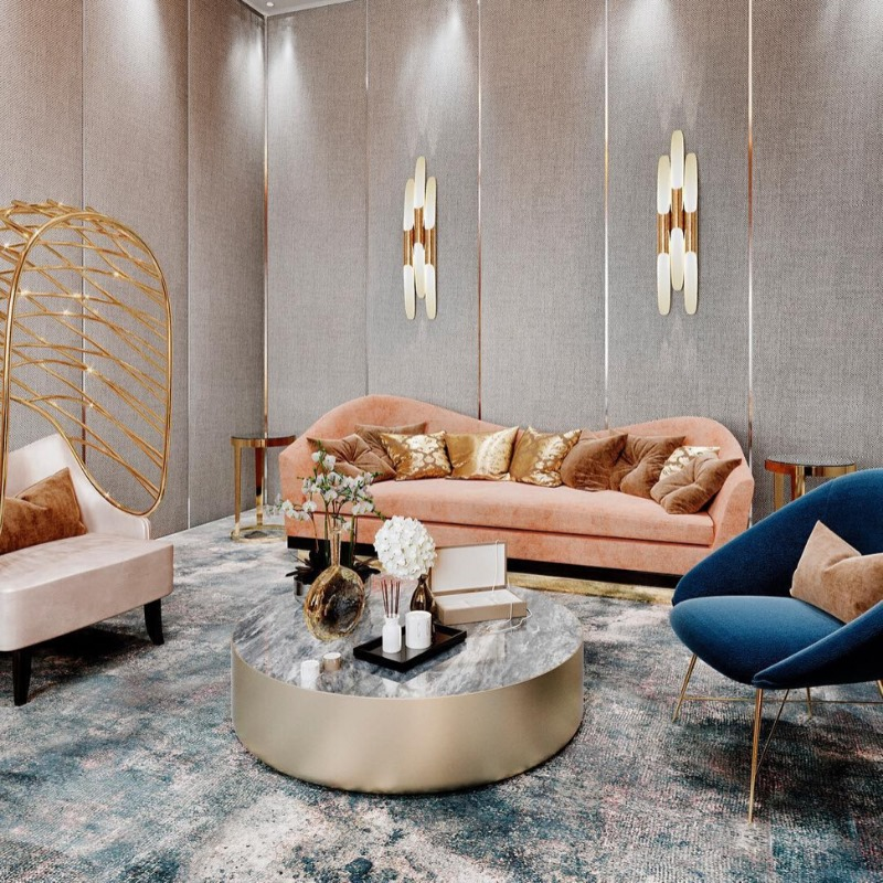 Delightfull mid-century inspired Coltrane Sconces in a luxurious house in Moscow by Black Triangle Design - unique luxury lighting brands to know