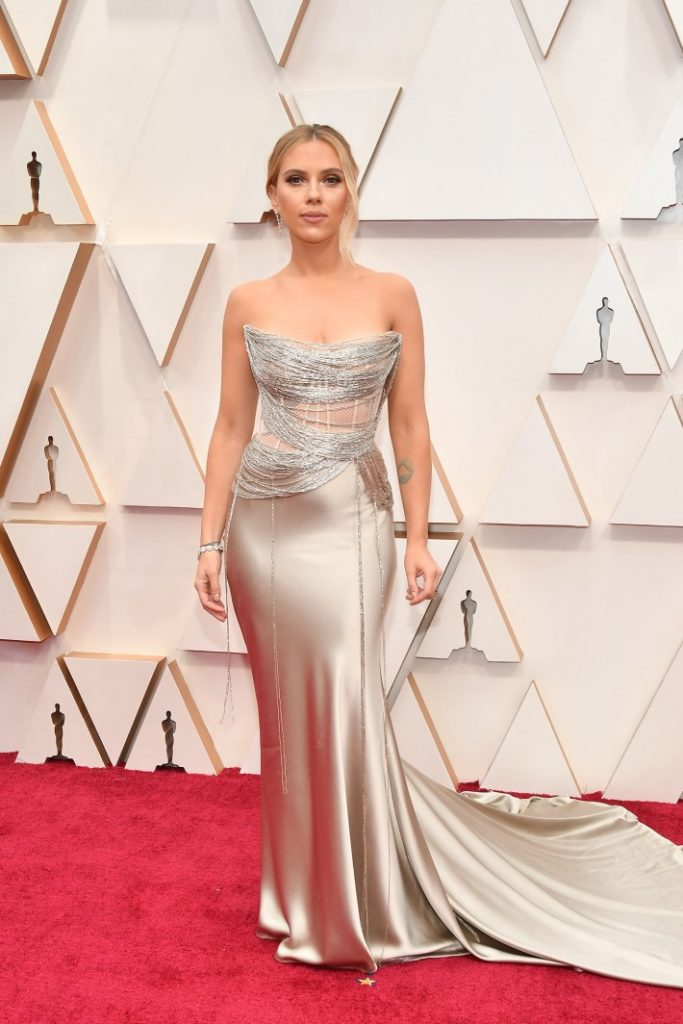 Scarlett Johansson attends the 92nd Annual Academy Awards at Hollywood and Highland on February 09, 2020 in Hollywood, California wearing a beautiful gown that incorporates netting. (Photo by Amy Sussman/Getty Images)