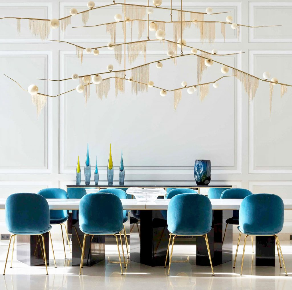 Custom edition of Lindsay Adelman's Cherry Bomb Fringe Chandelier
