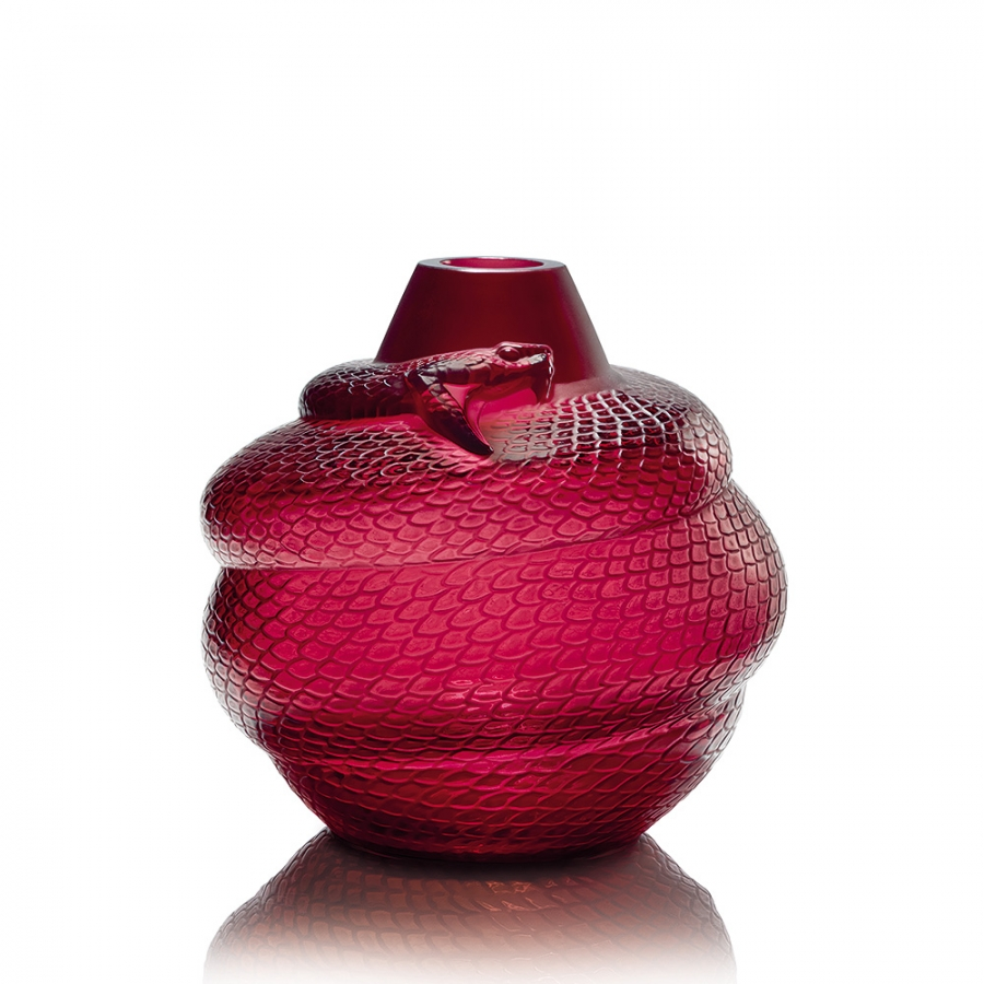 red Serpent Vase by Lalique