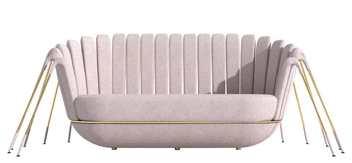 Les Araignée Sofa by Marc Ange with Gold Legs and Powder Pink Fabric Upholstery