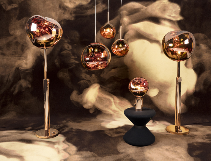 Melt Copper Family with Drum Stool by Tom Dixon