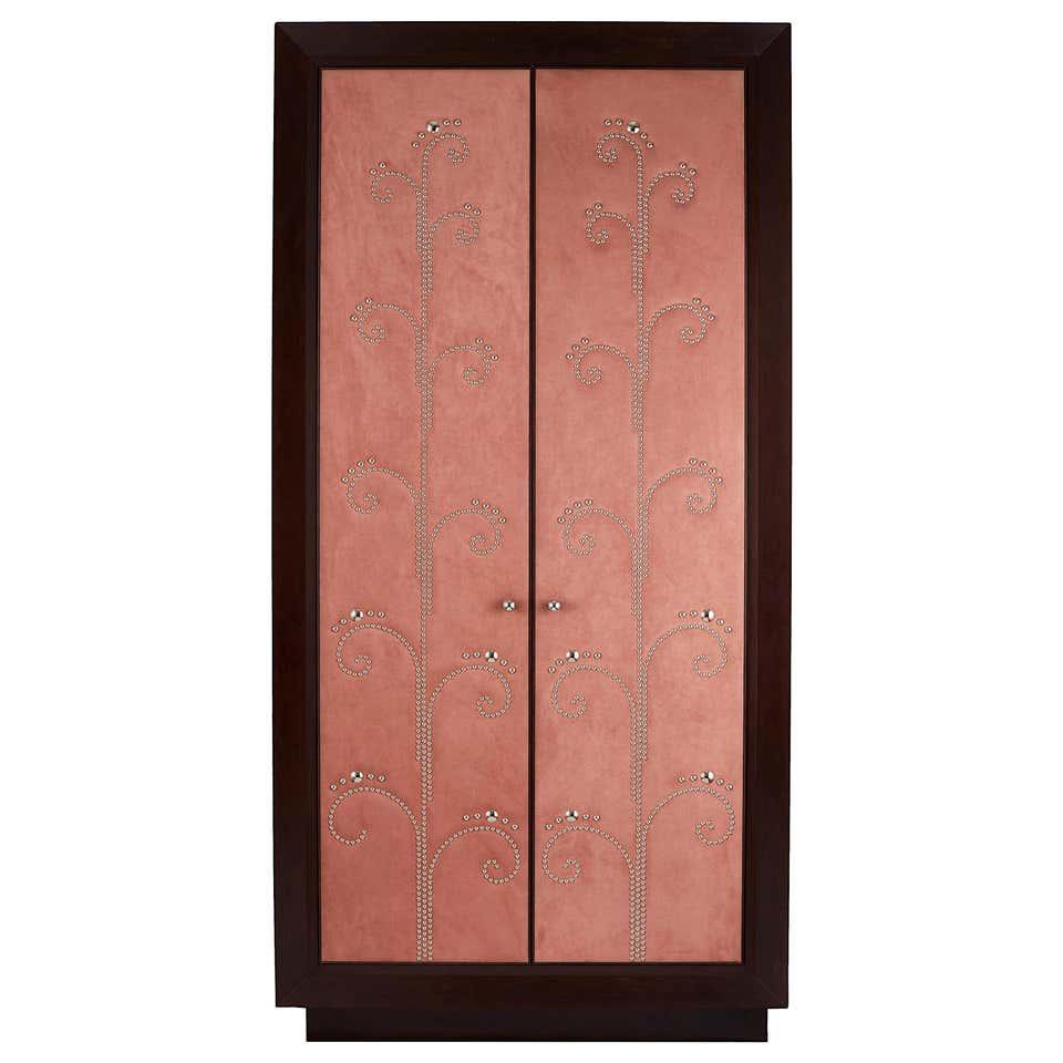 Modern Wardrobe with Pink Alcantara Finish and Studded Pattern, Customizable