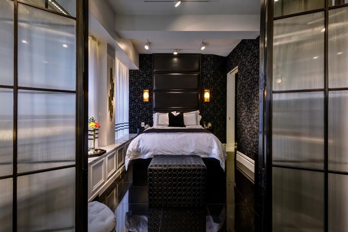 black master bedroom