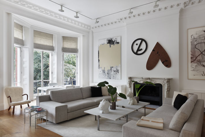Rosa de la Cruz's sitting room, with artworks by Christopher Wool and Nate Lowman (Photo by Alexander James)