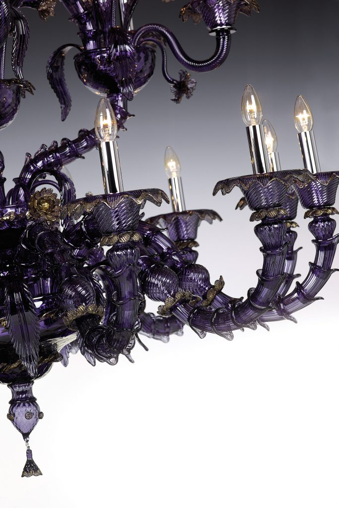 SEGUSO REZZONICO viola - murano glass chandelier - unique luxury lighting brands to know