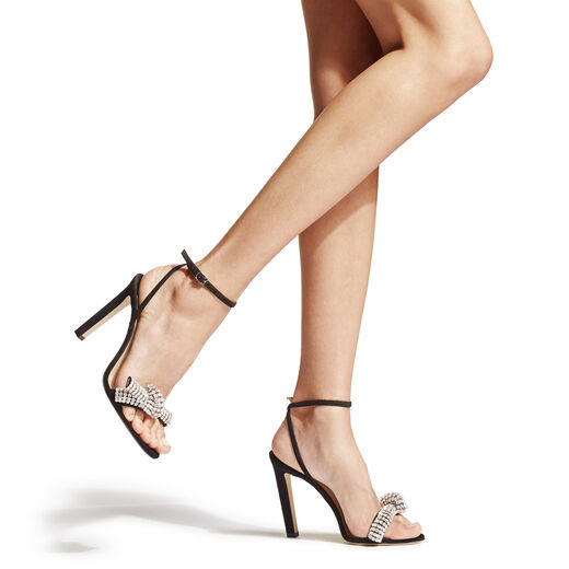 Black Suede Sandals with Pavé Crystal Cord Detail from Jimmy Choo - valentine's day gift ideas