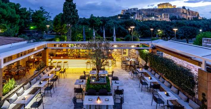 dionysos zonars athens greece overlooking acropolis - beautiful bars in athens