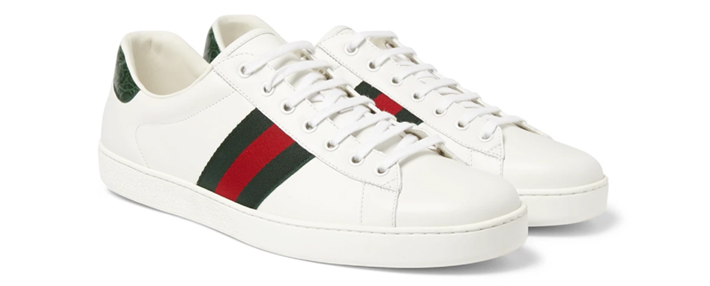 Ace Crocodile-Trimmed Leather Sneakers from Gucci