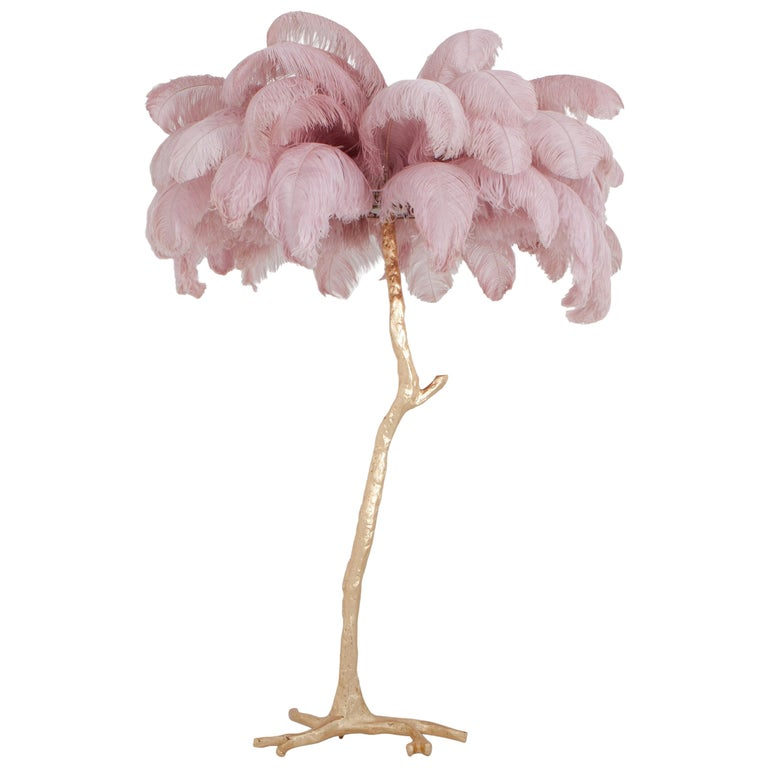 Hollywood Regency Feather Palm Tree Floor Lamp in Pink and Gold by A Modern Grand Tour