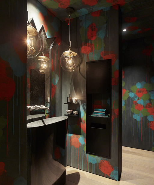 Hand-painted wallpaper in a powder room designed by Jay Jeffers  Photo by Matthew Millman