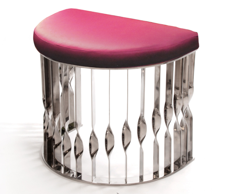 mandy stool in pink and silver by koket