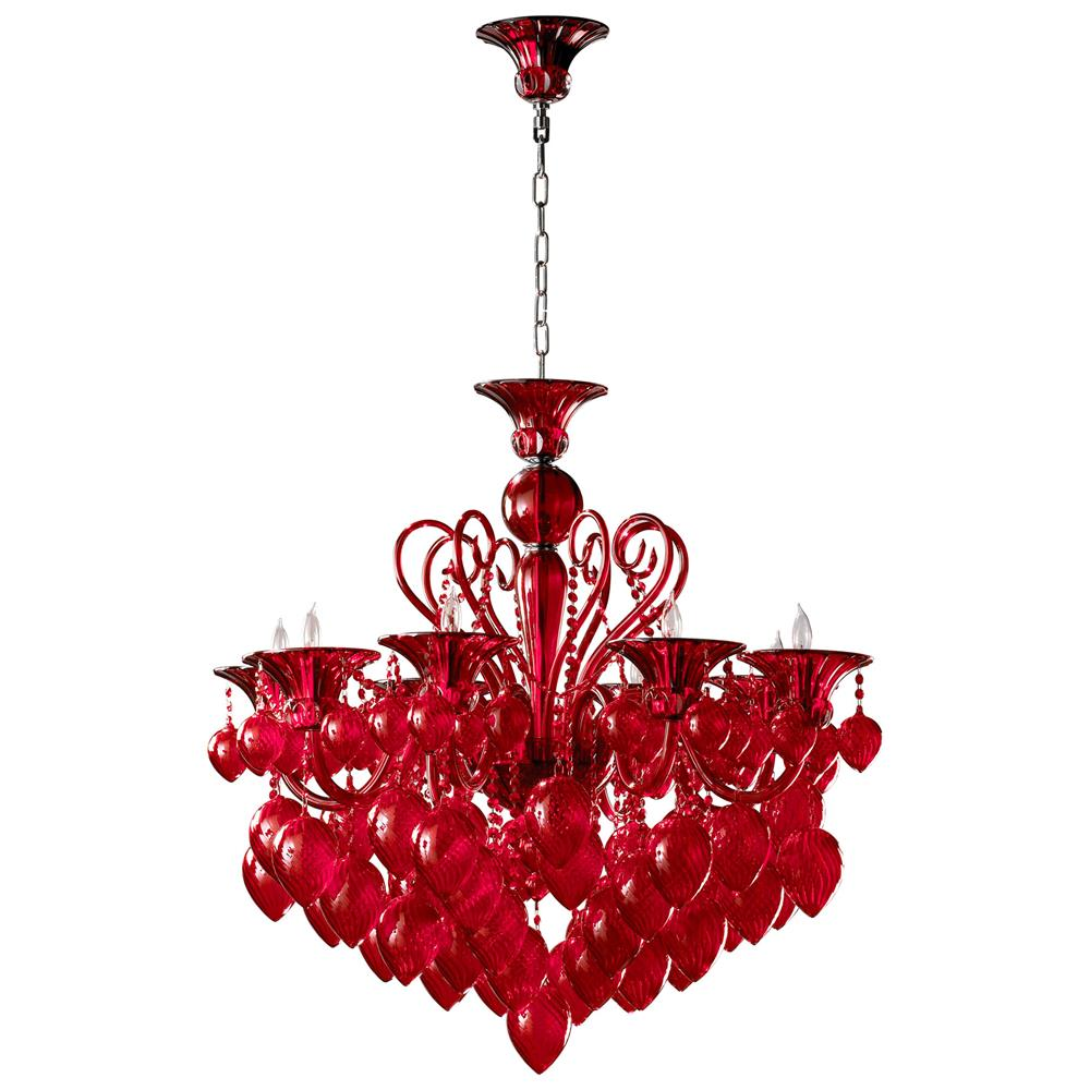 red glass murano chandelier