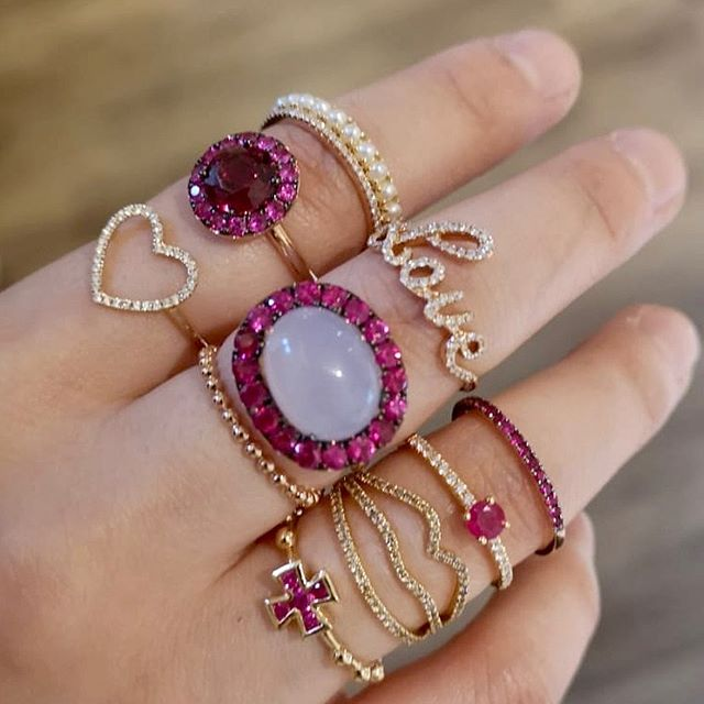 pink and gold jewelry, love ring, lips ring, heart ring