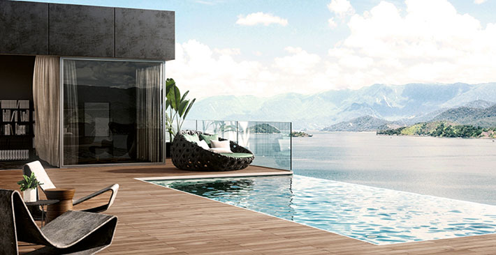 beautiful outdoor pool terrace showcasing sensory design - ACL finishes