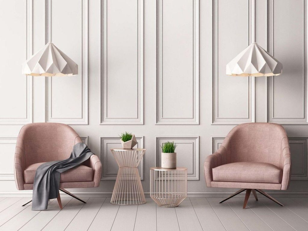 pink and white seating area Interior design by Castiglioni Hue Design