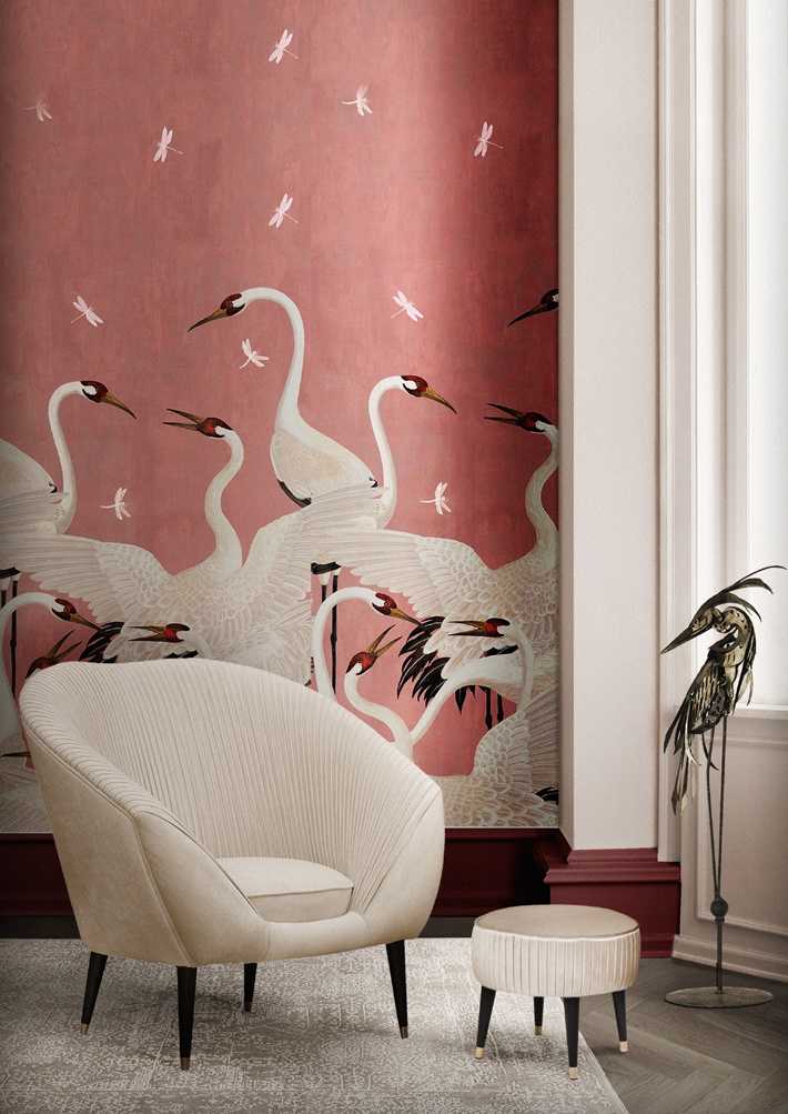 audrey chair koket projects with gucci bird wallpaper