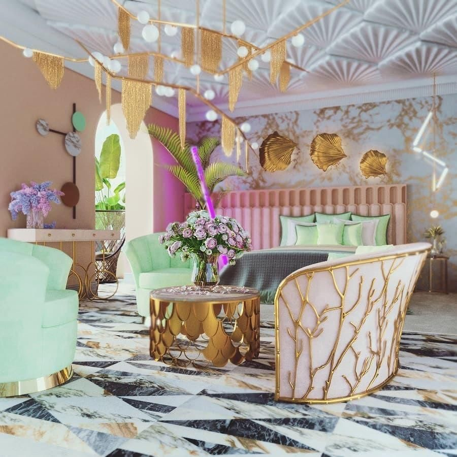 spring decorating ideas - branches - Interior rendering featuring KOKET's Enchanted Sofa by Simply the Design