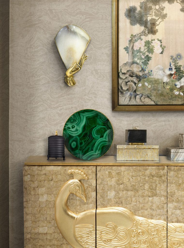 muse sconce and camilla sideboard by koket - mother of pearl - #stayathome design