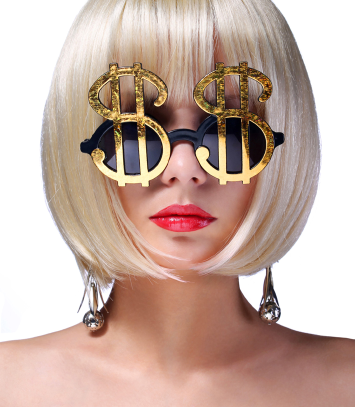 woman wearing money sunglasses