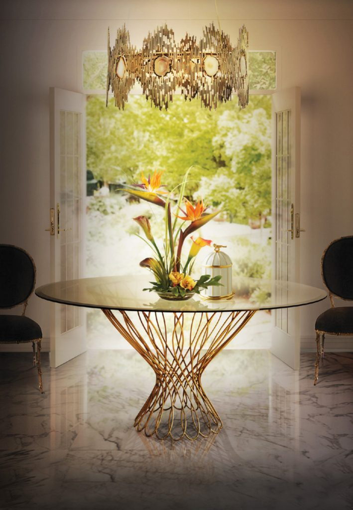 koket vivre chandelier allure dining table enchanted dining chairs - nature inspired design - #stayathome