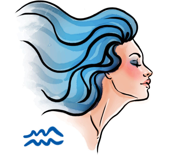 illustration of a woman representing aquarius zodiac sign for aquarius
