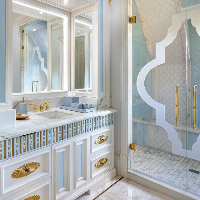 blue and white bathroom design by Lori Morris
