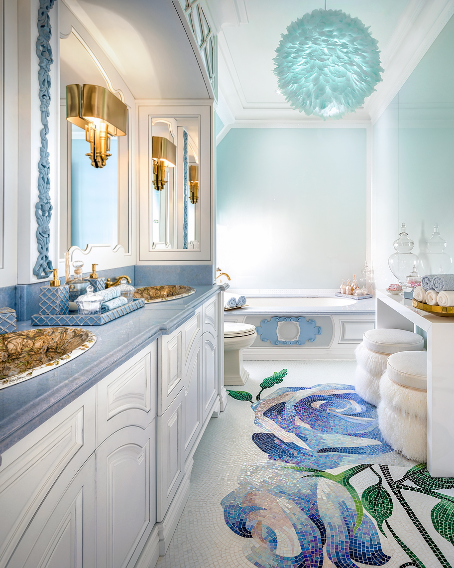 blue and white bathroom lori morris plush poufs