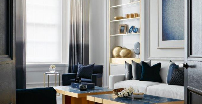 Blue and White Rooms - Living Room by Katharine Pooley