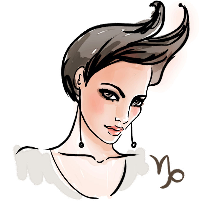 illustration of a woman representing capricorn zodiac sign for capricorn